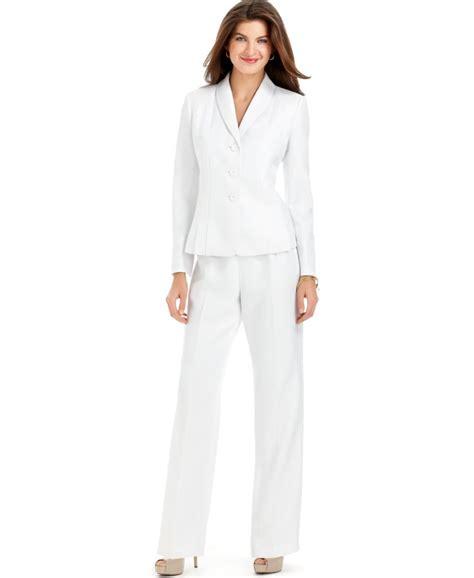 white pant suit le suit new white textured seamed shawl collar jacket 2pc dress pant suit 10 ebay