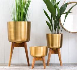 Green Bathroom Set Brass Plant Pot On A Wooden Stand By The Forest Amp Co
