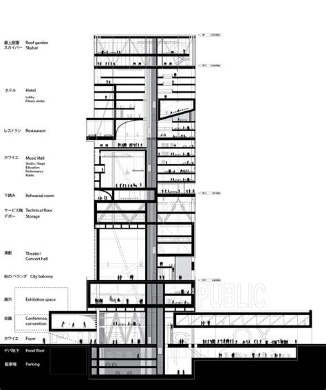 constructing a cross section highrise proposal tokyo on behance