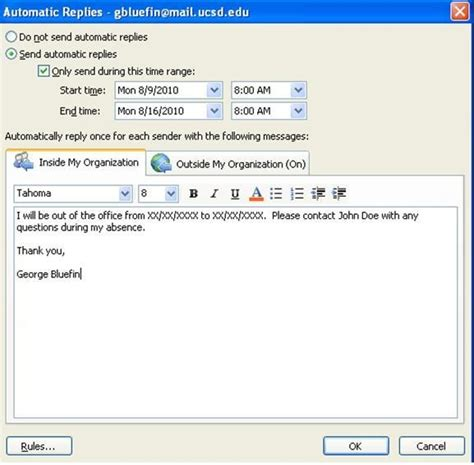 how to competently create an out of office reply in