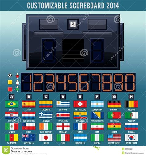 world cup scoreboard soccer world cup scoreboard vector kit stock images