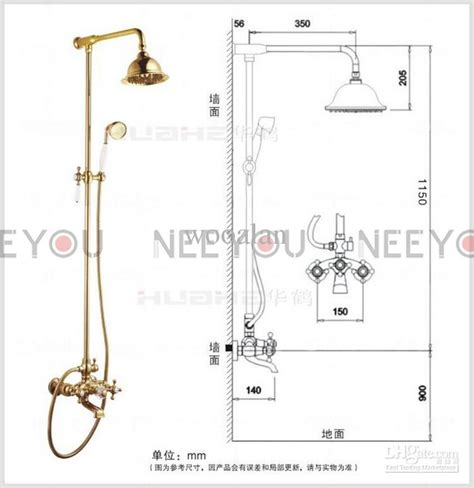 Bathroom Dual Handles Exposed Pure Copper Wall Mount Shower Tub Faucet Set 3 Uses Gold Plate
