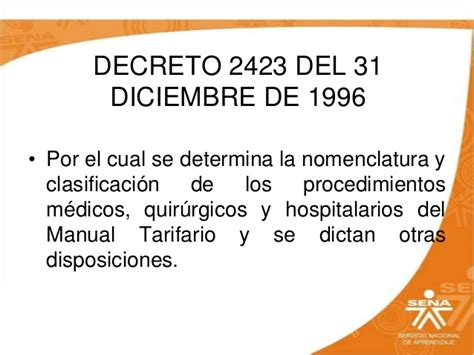 Decreto 2423 De 2016 | manual tarifario soat blog