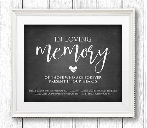 In Loving Memory Wedding Sign Instant Download Personalize In Loving Memory Templates