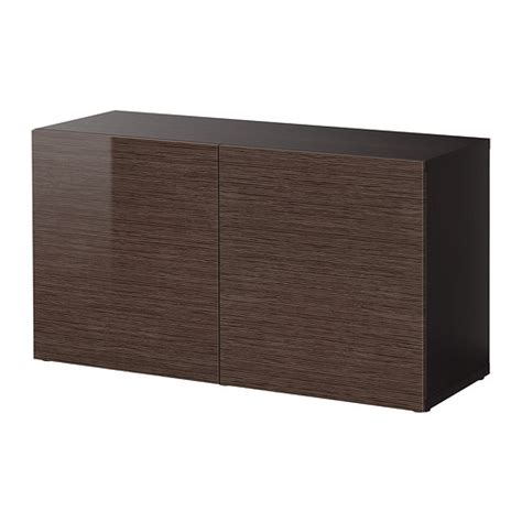 besta shelf unit with doors best 197 shelf unit with doors black brown selsviken high gloss brown 120x40x64 cm ikea