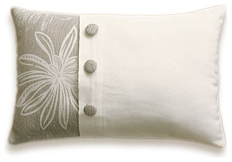 decorative buttons for pillows cream beige floral decorative lumbar pillow cover 12x18 in