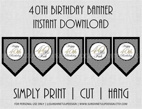 printable birthday banner black and white 40th birthday banner black and white chevron by