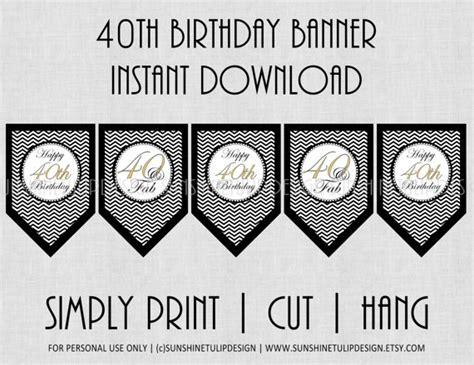 printable black birthday banner 40th birthday banner black and white chevron by