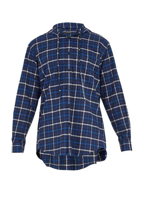 Lk Checkered Hoddie balenciaga oversized checked cotton flannel hooded shirt in blue multi modesens