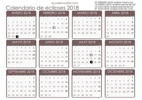 Calendario Lunar 2018 Calendario De Eclipses 2018 Eclipse De Sol Y De