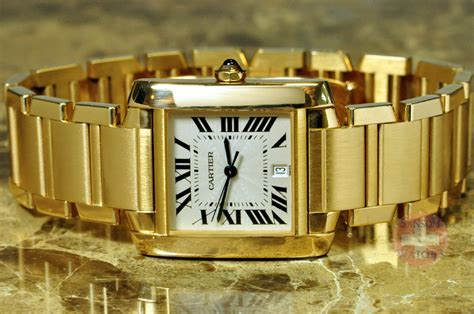 Cartier Tank Francaise 18k Gold Automatic ? Mens ? Sansom Watches, Rolex, Breitling, Omega, and more