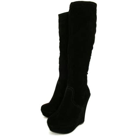 wedge knee boots womens black suede style stretch wedge heel platform knee