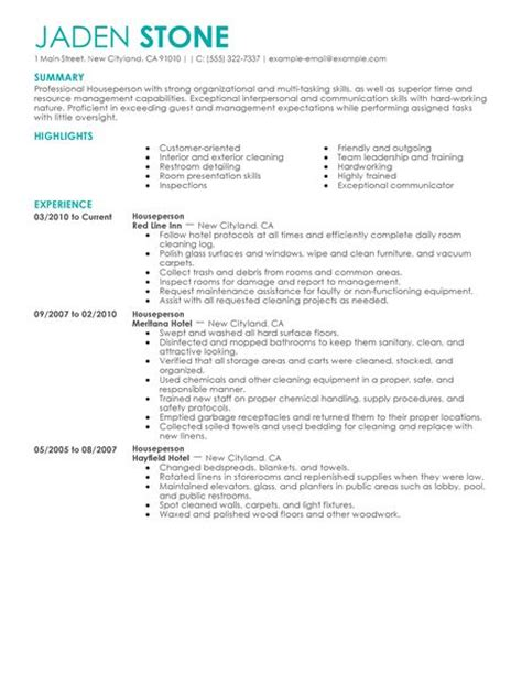 Building Maintenance Resume Examples by Houseperson Resume Example Hotel Amp Hospitality Sample