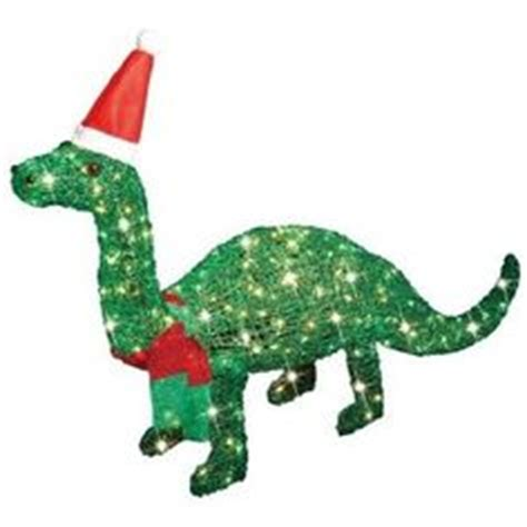 lighted dinosaur christmas decoration outdoor 42 quot dinosaur animated lighted with present outdoor