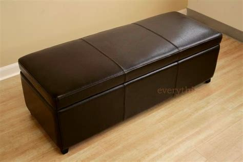 long leather ottoman bench 47 quot long dark brown leather storage hallway ottoman bench
