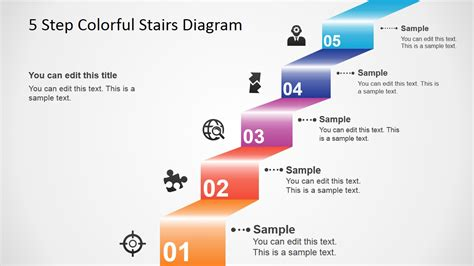 diagram steps 5 step colorful stairs diagram for powerpoint slidemodel