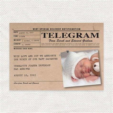 Handmade Birth Announcements - baby birth announcement vintage telegram style printable