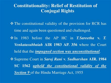 hindu law section 9 restitution of conjugal rights a comparative study among