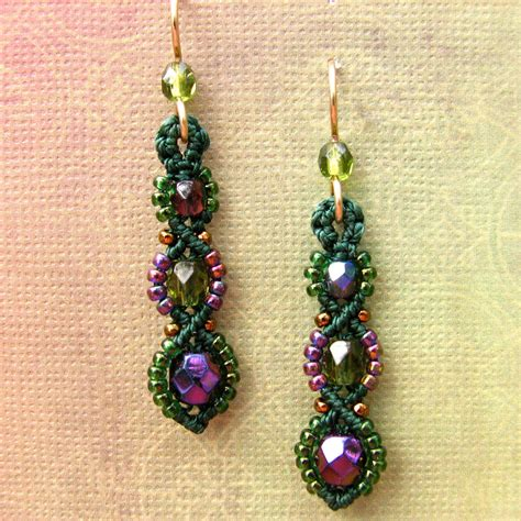 beaded earrings macrame earrings beaded earrings beadwork purple and green