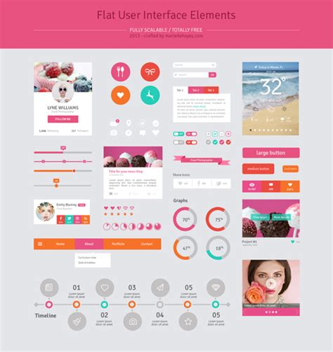interface design template free flat psd templates and web elements for ui design