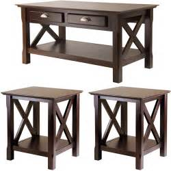 xola 3 coffee end tables value bundle cappucino