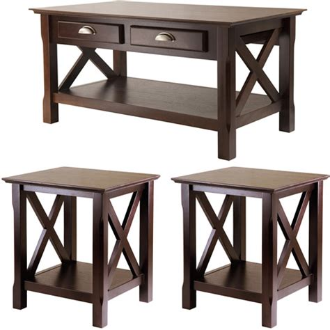 Xola 3 Piece Coffee End Tables Value Bundle Cappucino Walmart Coffee Table And End Tables