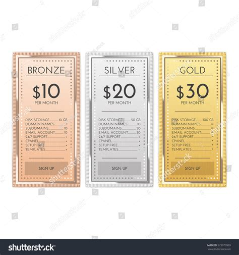 comparison price chart table pricing plan vector template stock table chart comparison gold silver bronze stock vector