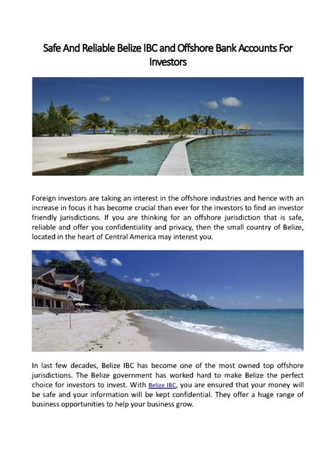 safe offshore banks safe and reliable belize ibc and offshore bank accounts