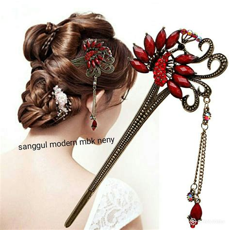 tusuk sanggul dan rambut jual model sanggul modern
