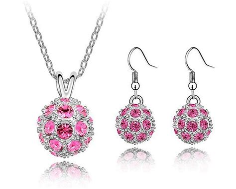 design elements jewelry disco ball design jewelry sets pink earrings and necklace