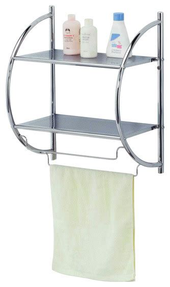 bath shelf chrome finish contemporary bathroom - Contemporary Bathroom Shelves
