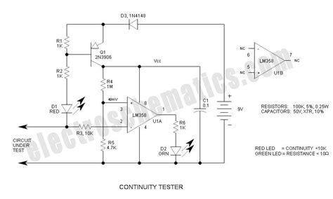 resistor tester circuit continuity tester circuit differentiates resistance