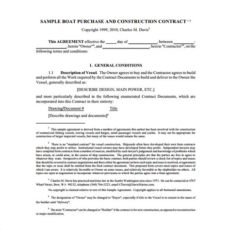 sle boat purchase agreement 8 free documents