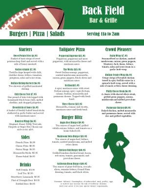 Football Sports Bar Menu Sports Bar Menus Sports Bar Menu Template