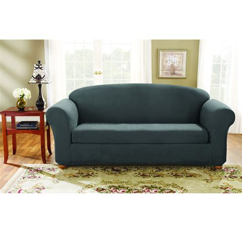 sure fit 2 piece sofa slipcover sure fit stretch suede sofa 2 piece bench seat slipcover