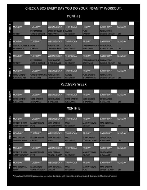 Calendario Insanity Insanity Workout Schema Insanity Insanity