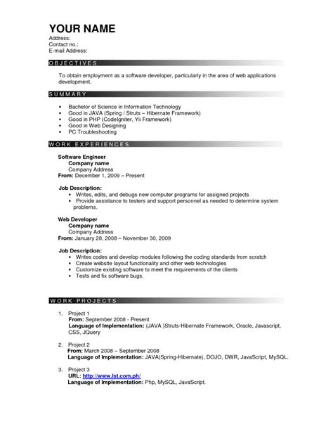 resume format for resume exles templates free sle effective resume