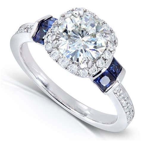 1 3 5ct tw moissanite and sapphire engagement ring