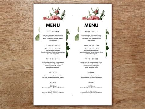 home dinner menu template 45 best images about printable wedding menu templates on