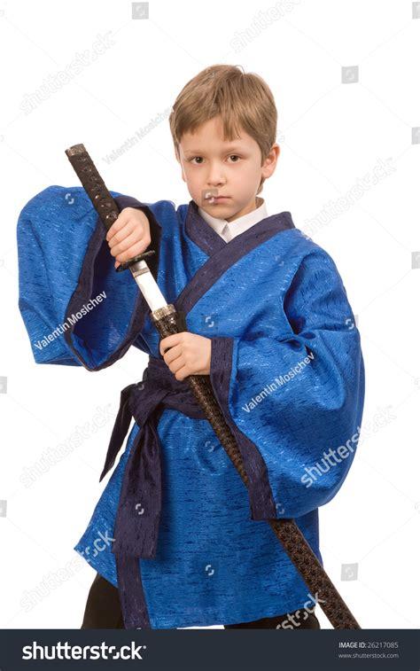 Kimono Boy boy blue kimono sword stock photo 26217085