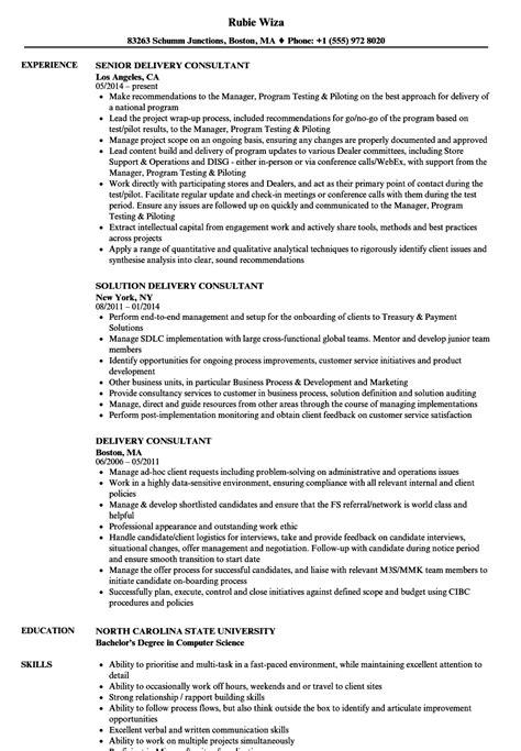 delivery consultant resume sles velvet