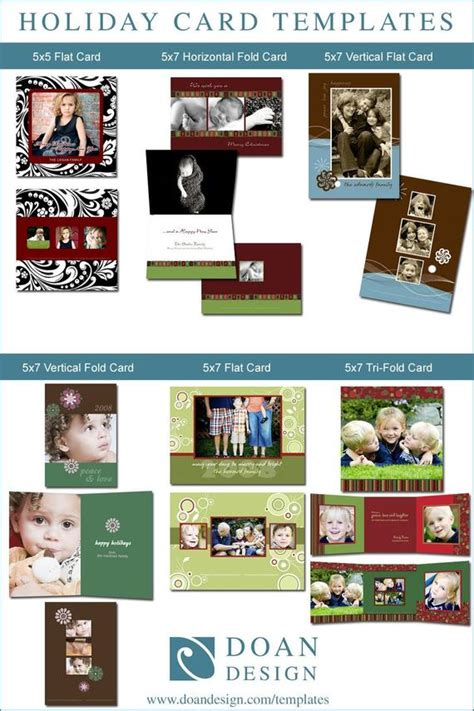 Set Of 6 Holiday Card Templates In Photoshop 5x7 And 5x5 5x5 Trifold Card Template