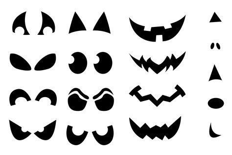 printable pumpkin eyes and mouth jack o lantern shirt stencils craft buds