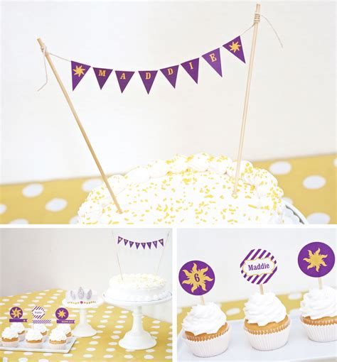 printable cake bunting flags how to host a rapunzel party paging supermom