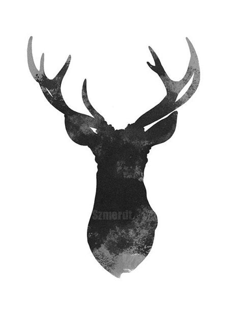 Home Decor Antlers Deer Head Art Print Antlers Drawing Home Decor By
