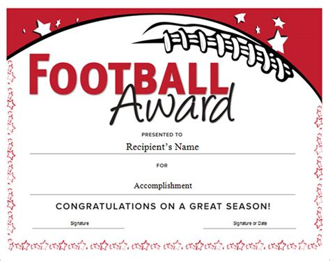 sports certificates templates free download football