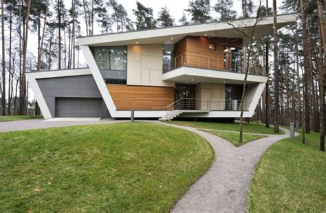 contemporary house with wooden architecture in russian