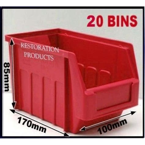 red size  stacking plastic parts storage bins garage