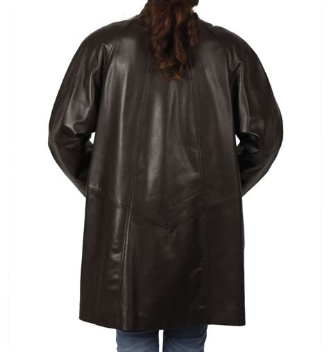 leather swing coat 3 4 length brown leather swing coat from simons leather