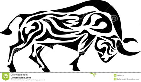 tribal bull stock vector image of horned strong